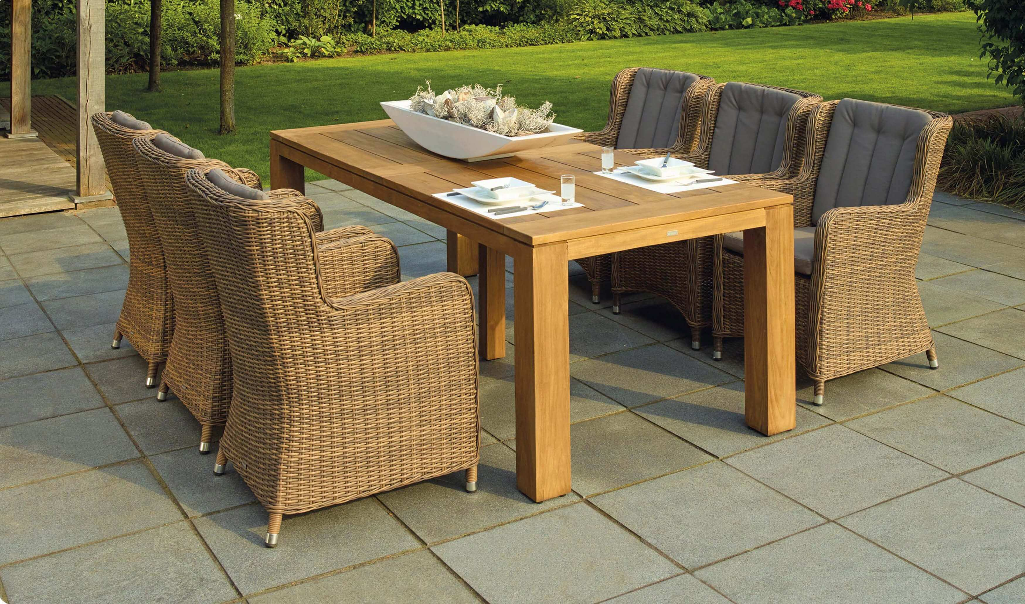 garden dining set in natural colours