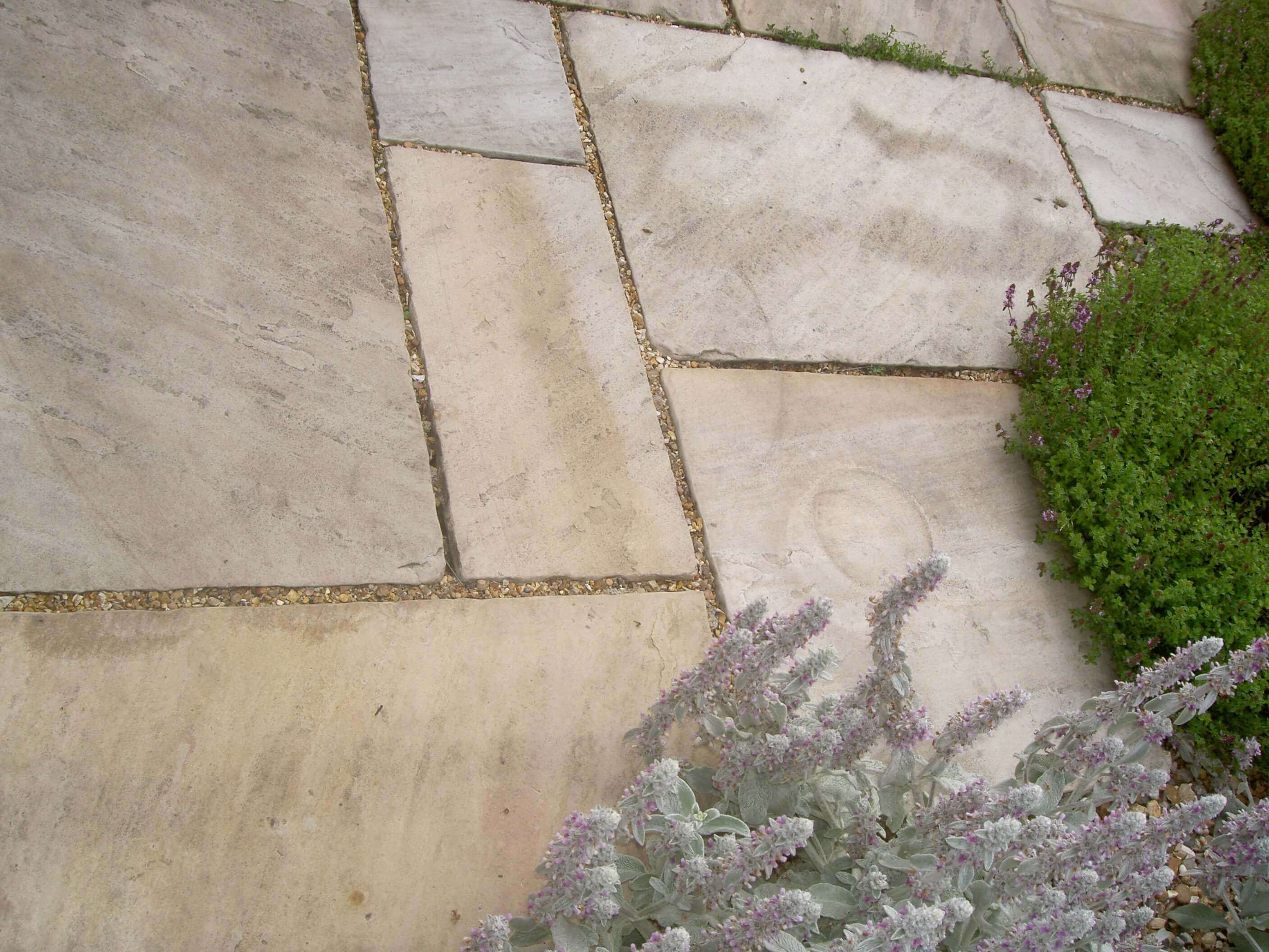 paving with gaps for growing plants
