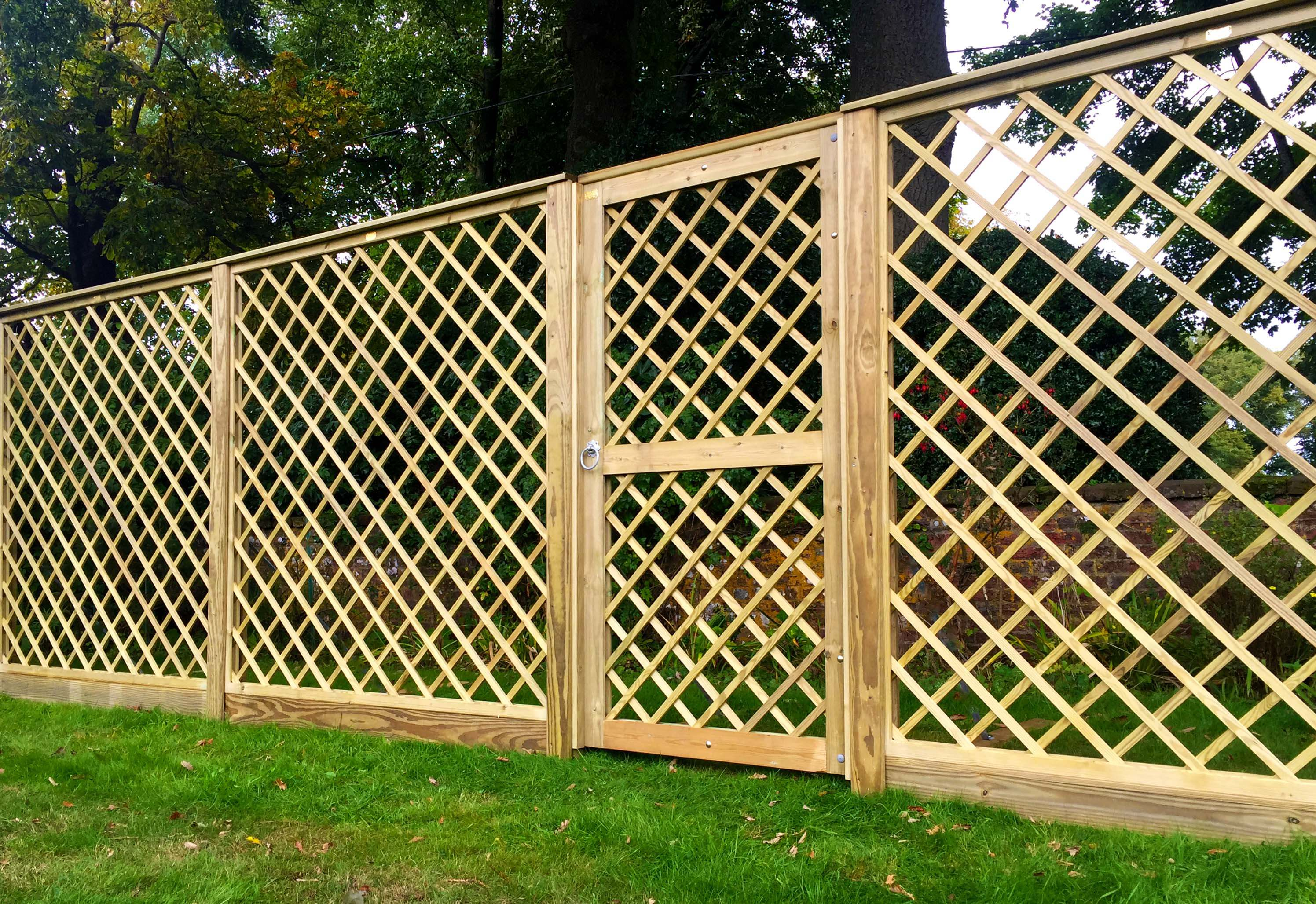Premier Diamond Trellis with trellis garden gate