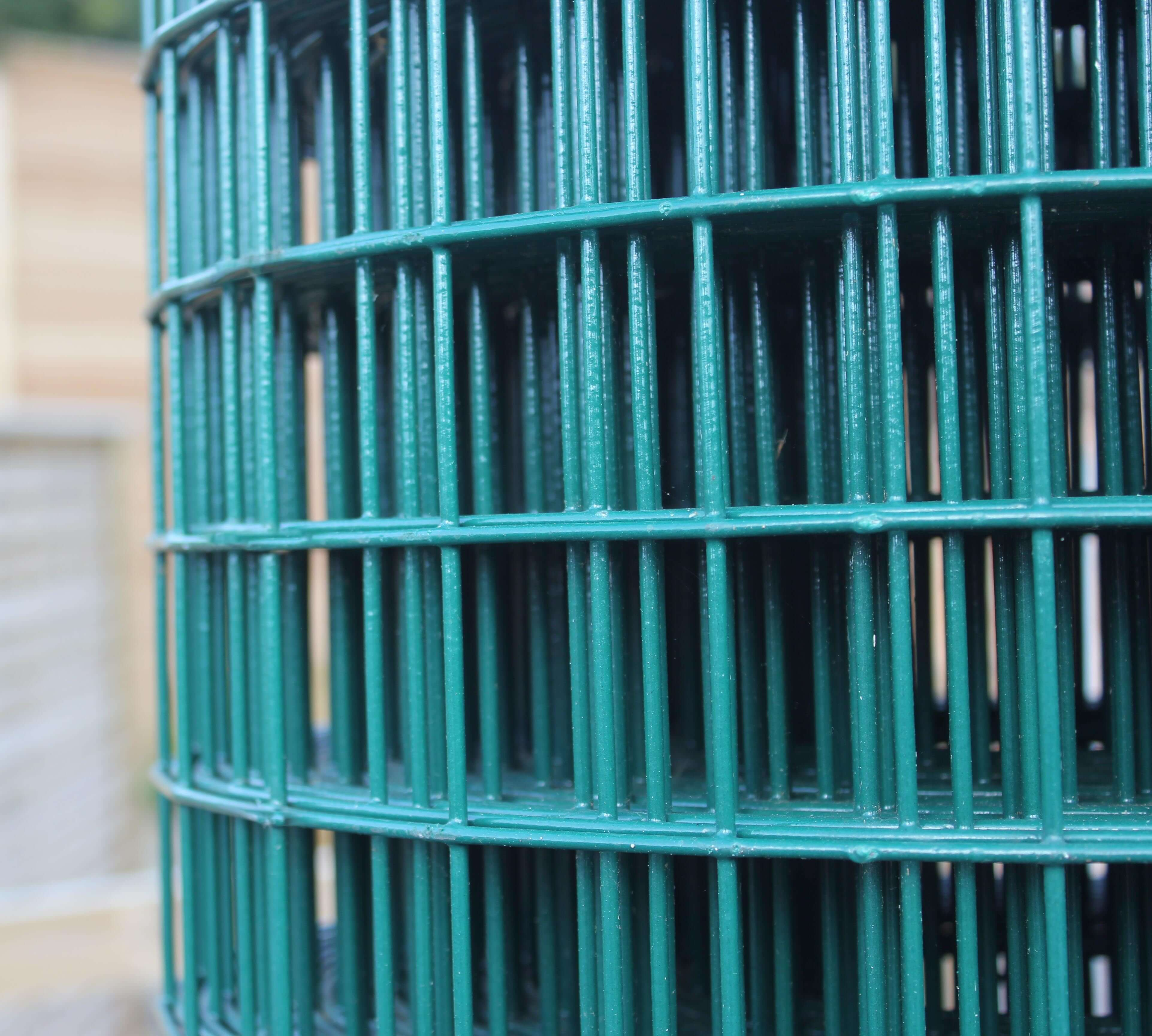 Close up Green PVC welded mesh 25m roll