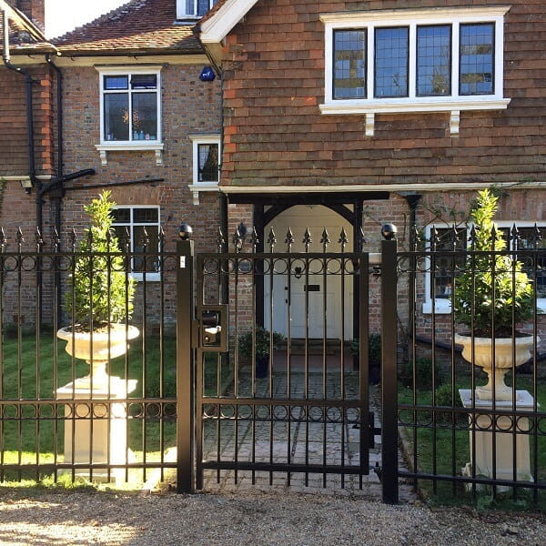 Ornamental metal railing gate