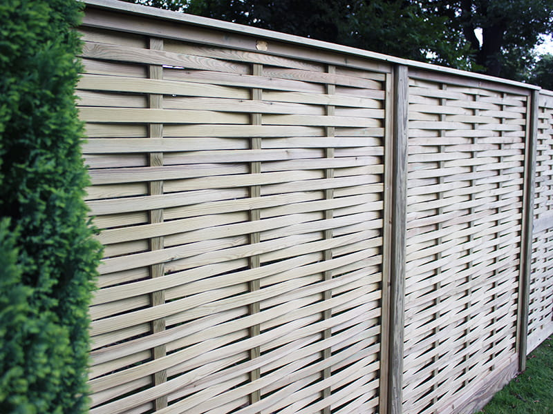 Woven wood fence panels